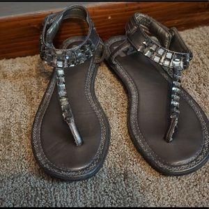 Gray beaded sandals